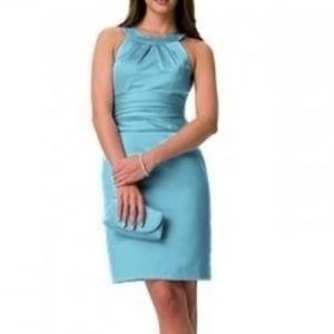 David's Bridal satin blue bridesmaid dress F13277